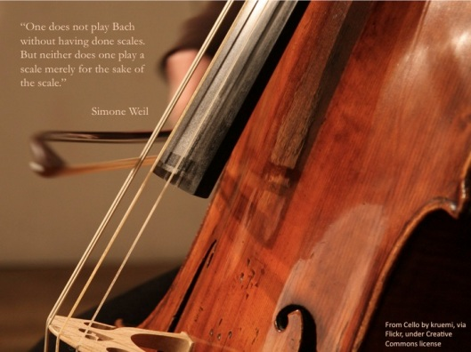 Cellos, Scales, Simone Weil quote